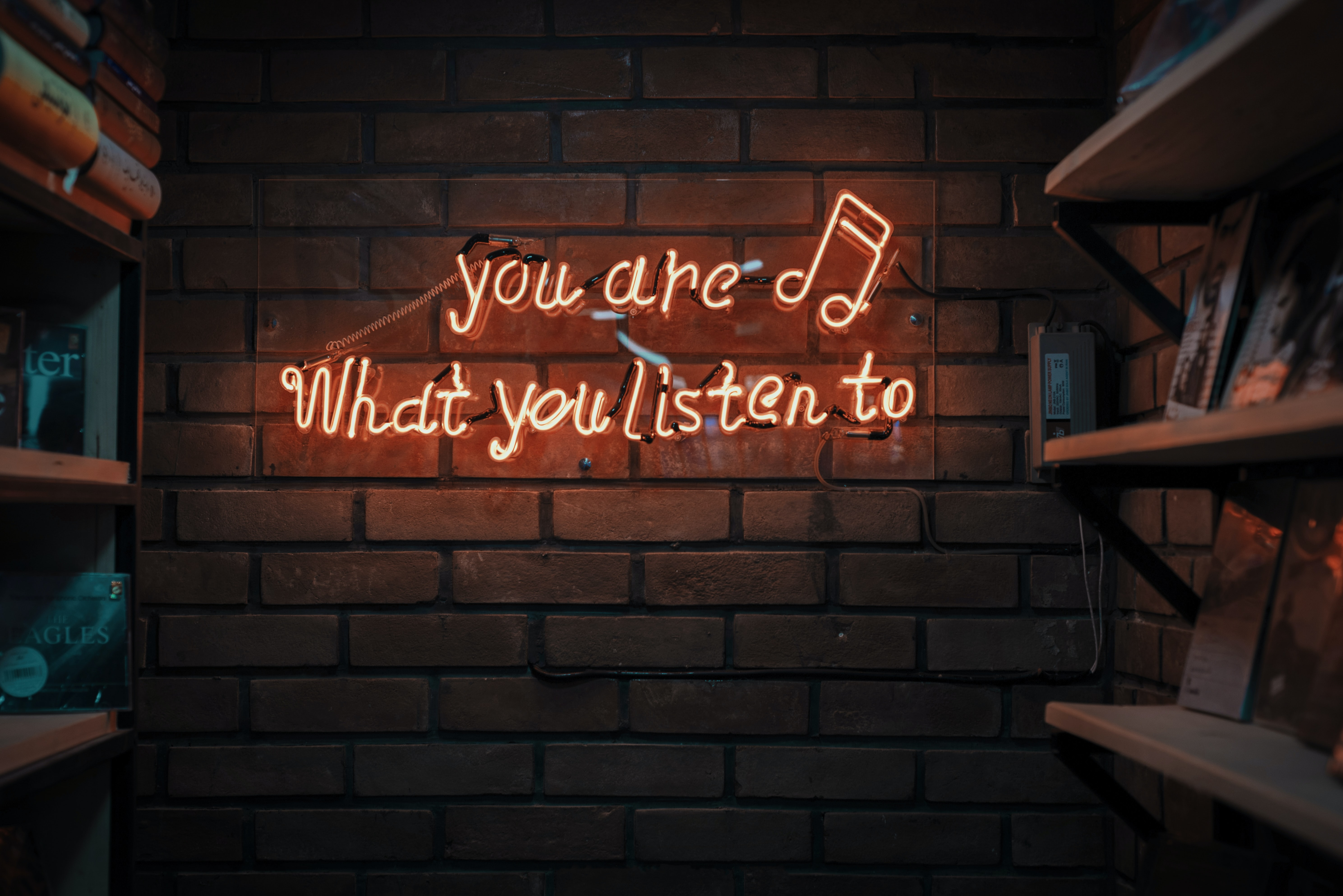 You are what you listen to neon light on brick wall